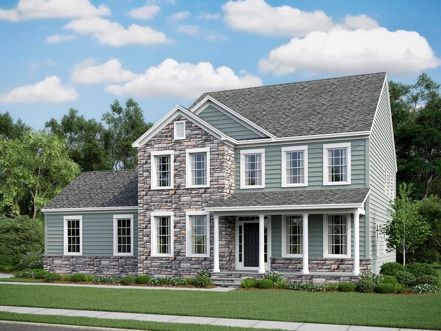 The Ashland featuring Farmhouse Elevation with Partial Stone, Side Load Garage. Optional Stone on Steps shown.