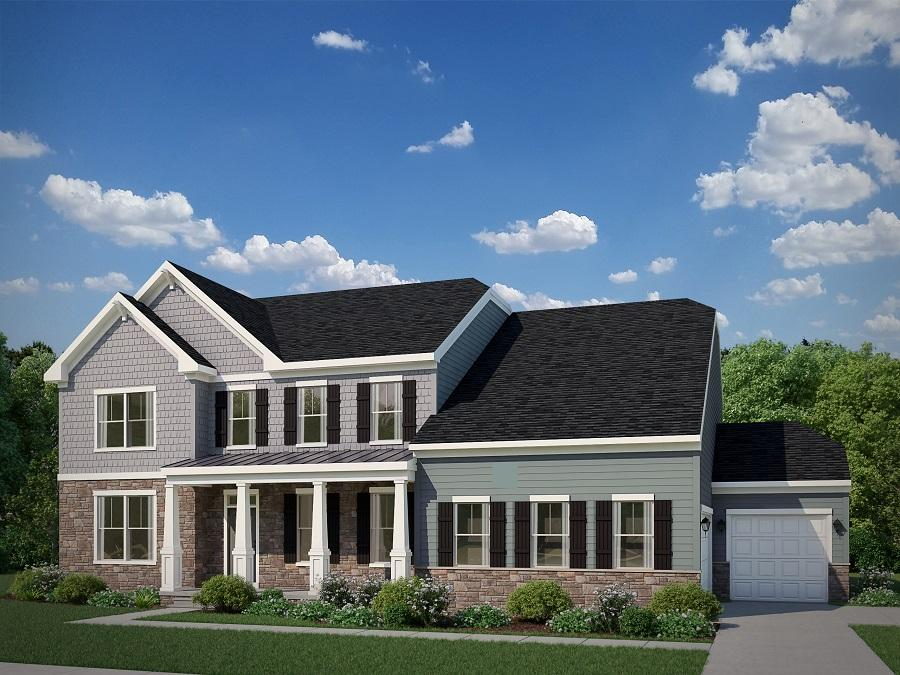 The Carson with Optional Craftsman Elevation with Opt. High Stone,and Opt. 3 Car Side Load Garage