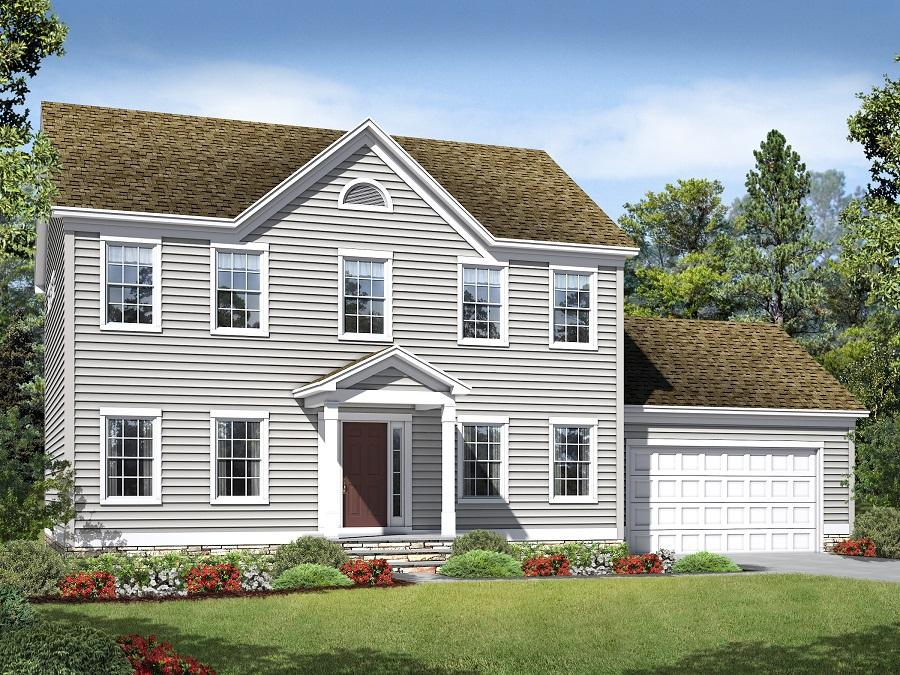 The McKinley Eastern Seaboard featuring Gable, Portico, Stone on Foundation Front and Front Load Two Car Garage