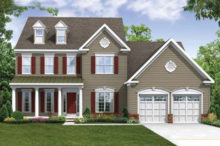 Raleigh II - Elevation 3 with Stone Water Table, showing Optional Carriage Style Garage Doors.  Current Design features Double Garage Door.