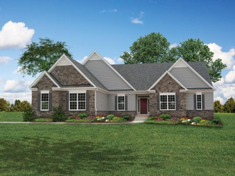 The Bridgewater II Elevation 1 with Partial Stone and Side Load 3 Car Garage