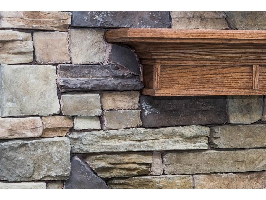 Featuring the Cheyenne Browns Valley Stone and Mantle stained to match Weatherby Burlap Birch