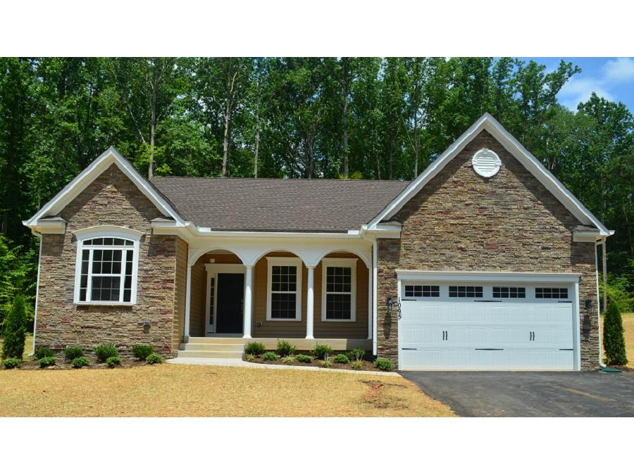 Chesapeake, Elevation 3, Partial Stone Front, Carriage Style Garage Doors, Front Load Garage.