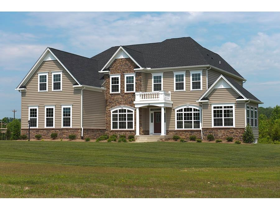 The Whitman II, Elevation 2, Side Sunroom, Partial Stone Front, 3 Car Side Load Garage